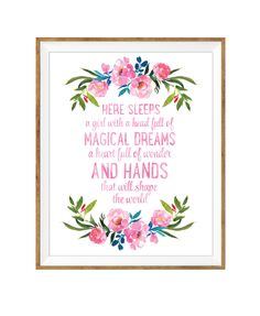 Here Sleeps A Girl, Floral Nursery, Watercolor Print, Girls Nursery Art, PRINTABLE WALL ART, Nursery Wall Art, Pink and Navy, Girls Room Art by DuneStudio on Etsy