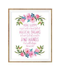 Here Sleeps A Girl, Floral Nursery, Watercolor Print, Girls Nursery Art, PRINTABLE WALL ART, Nursery Wall Art, Pink and Navy, Girls Room Art by DuneStudio on Etsy