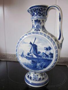 Delfts-Sammlung-wunderschoene-Henkelvase-Vase-mit-Griff-H-27-cm-ANSEHEN