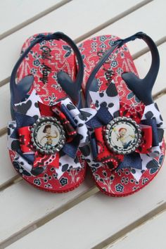 Jessie and Woody inspired Bow Flip Flops  by DarlingLittleBowShop, $21.95