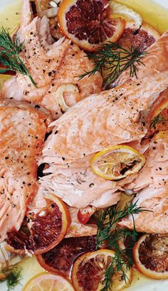 This slow-roasted salmon recipe is low-maintanence and is *supposed* to break apart into big flakes. It's the most dinner party-friendly recipe ever!