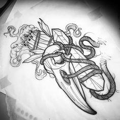 Raven skull/sage/crystal . . . . #tattoo #tattoos #darktattoos #neotrad #neotraditional #neotraditionaltattoo #phillytattoo…