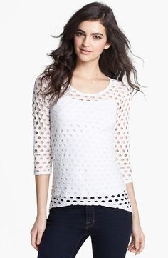 Bailey 44 'Goalie' Perforated Knit Top White Small from Nordstrom on shop.CatalogSpree.com, your personal digital mall.
