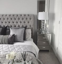 Grey Bedroom Inspo Grey Interior Bedroom Silver Mirror Side Tables regarding proportions 1408 X 1767 Bedrooms With Mirrored Furniture - One from the most Bedroom Inspo Grey, Silver Bedroom Decor, Bedroom Wall Colors, Home Decor Bedroom, Modern Bedroom, Grey Bedroom Design, Master Bedroom Grey, Silver And Grey Bedroom, Grey Home Decor