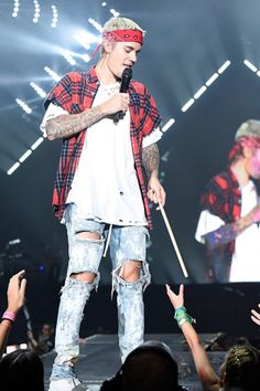 Justin Bieber performing at his last Purpose Tour concert in North America on July 19, 2016 at Madison Square Garden in New York City