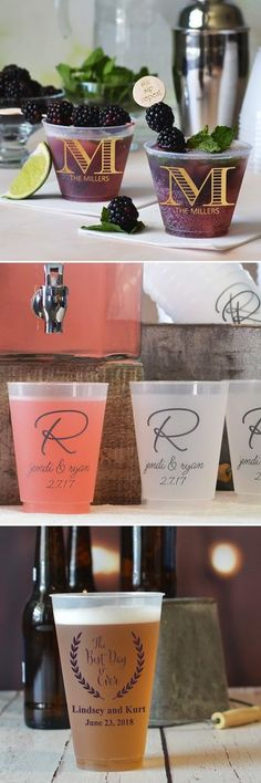 Perfect for punch, lemonade, and iced tea drink stations or wedding beer and cocktail bars, reusable shatterproof frosted plastic cups personalized with a wedding design and up to 4 lines of custom print on the front and back will be the highlight of your wedding reception drinks. Guests love personalized cups and will take them home as wedding souvenirs to remember your big day. These cups can be ordered at http://myweddingreceptionideas.com/personalized_plastic_cups.asp