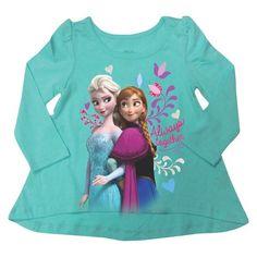 Disney® Frozen Toddler Girls' Long Sleeve Anna & Elsa Tee - Teal