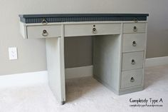 Annie Sloan chalk paint refinished desk in Fresh Linen and Graphite