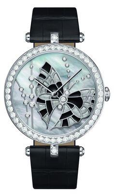 ♂ As the Salon International de la Haute Horlogerie (SIHH) takes place in Geneva (January 21-25), Van Cleef & Arpels has unveiled new watch designs for 2013.  Luxury Watch Lady Arpels Papillon Noir Argent