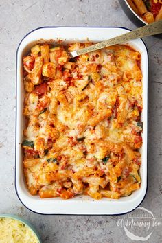 The completed halloumi pasta bake in a baking tray after being pulled out from the oven. Baked Pasta Recipes, Veggie Recipes, Vegetarian Recipes, Dinner Recipes, Cooking Recipes, Healthy Recipes, Vegetarian Cooking, Vegetarian Pasta Bake, Best Pasta Bake Recipe