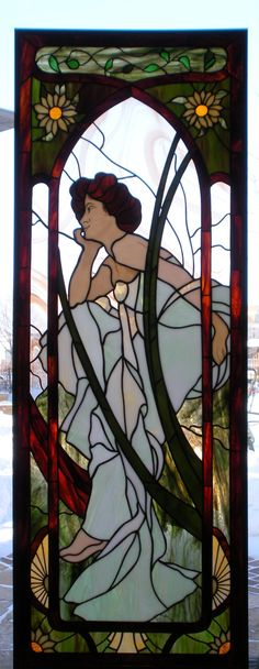 Glas in Lood-Tiffany*Stained Glass ~van Alex Vogel naar Alfons Mucha~ Stained Glass Quilt, Tiffany Stained Glass, Faux Stained Glass, Stained Glass Panels, Deviant Art, Spirals In Nature, Alphonse Mucha Art, Art Nouveau Poster, Tiffany Art