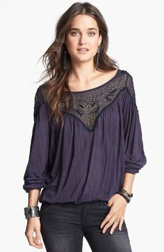 Free People 'Blue Sky' Embellished Mesh Yoke Peasant Top available at #Nordstrom