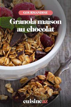 Une recette facile de granola maison au chocolat pour le petit déjeuner. #recette#cuisine #granola #chocolat #petitdejeuner