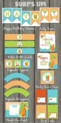 Surfer Surf's Up Birthday Party Kit, Surfboard, Surf, Blue, Green, Orange, Summer, Surf Party, Stripes, Polka Dots, Plaid, Surfing Party