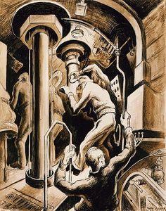 ART & ARTISTS: Thomas Hart Benton - part 4 WWII Submarine Museum, American Realism, Grant Wood, Social Realism, Submarines, Painters, Printmaking, Wwii, Illustrators