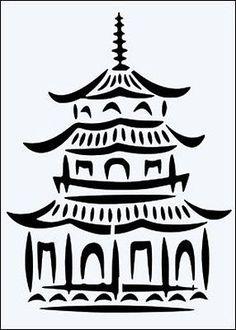 Chinese Pagoda 190 micron Mylar Stencil durable & sturdy- - - ***NEW** Chinese Party, Chinese Theme, Chinese Pagoda, Chinese Crafts, Chinoiserie Chic, Chinoiserie Fabric, Willow Pattern, Stock Art, Japanese Art