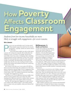 How Poverty Affects Classroom Engagement Educational Leadership - May 2013 - Page 24 So refreshing that this is getting acknowledged. Tired of hearing this shouldn't or doesn't have an effect on learning. School Leadership, Educational Leadership, Educational Technology, Educational Administration, Leadership Activities, Educational Websites, Teaching Strategies, Teaching Tips, School Social Work