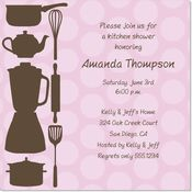 Pink And Brown Kitchen Utensils Square Invitations