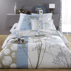 housse de couette coton r versible imprim e fleurs et pied de poule coquette 3 suisses. Black Bedroom Furniture Sets. Home Design Ideas