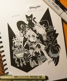 Inktober Day 22: Tried to draw my Witchsona! :D