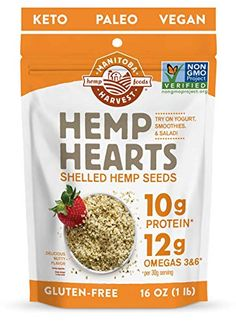 Manitoba Harvest Hemp Hearts Raw Shelled Hemp Seeds, with Protein & Omegas per Serving, Whole 30 Approved, Non-GMO, Gluten Free Vegan Keto, Vegan Gluten Free, Paleo, Chia Pudding Breakfast, Meal Prep For Beginners, Hemp Hearts, Whole 30 Breakfast, Free Fruit, Plant Based Protein