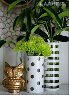 Recycled Vases - garage sale dot stickers and painters tape for pattern effects