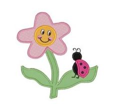 Flowers :: Flower & Ladybug Applique Design