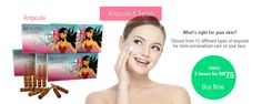 Beautee Ampoule (10pcs x 3ml) per box. 12 types available.  Most wanted are Collagen Ampoule, Vitamin C Ampoule & Hydrating Ampoule