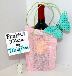 Burlap Gift Bag LIGHT PINK & GREEN Jute Bags Wine Bags