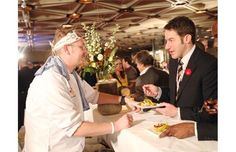 Jonathan Korecki, left, of Sidedoor Contemporary Kitchen and Bar's wild turkey, kabocha and YOW curry explains his dish to Stuntman Stu at the Gold Medal Plates in Ottawa, Nov. Wild Turkey, Ottawa, Curry, Plates, Dishes, Bar, Contemporary, News, Kitchen