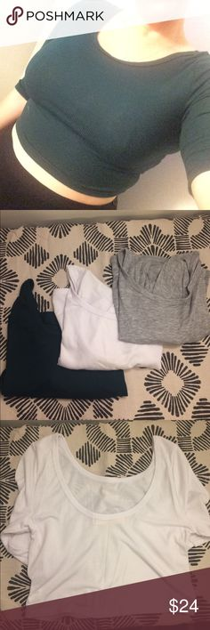 Set of 3!! NWOT urban crop scoop back tees L This are so cute and soft!! Never worn, three Project Social T fitted crop tops in white, heather grey, and deep forest green. Size L but would fit a medium too. I am a size M/L with 34DD and you can see how it fits me. Urban Outfitters Tops Crop Tops