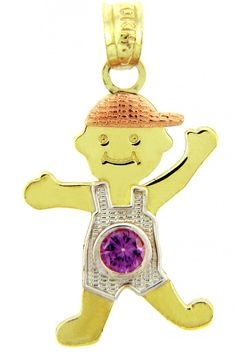 10k Tri Color Gold Boy With Hat February Birthstone Charm Pendant. this little boy is sure to steal your heart: the perfect present regardless whether if it's a baby shower gift or jewelry for the baby herself. finely crafted with solid 10 karat yellow gold, white gold, and rose/pink gold in perfect polished finish. comes with free special gift packaging. made in the USA yet offered at factory-direct jewelry price. ships within 24 hours from the manufacturer directly to the customers...