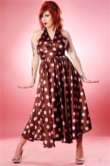 1950's Halter Swing Dress in Cocoa & Pink Satin Jumbo Dots!