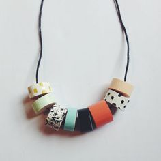 Patterns And Pastels Wooden Beaded Necklace