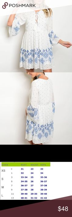 🆕 Blue & White Embroidery Print Dress Beautiful Spring/Summer piece for that wardrobe refresh.  Material:  100% Rayon.  Price is firm unless bundled.  😊 Dresses
