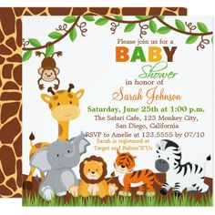 Cute Safari Jungle Animals Baby Boy Shower Poster This funny cute safari jungle animals baby boy shower poster with adorable fun safari jungle animal is the perfect finishing touch for your cute safari jungle baby shower invitations. Custom Baby Shower Invitations, Birthday Party Invitations, Baby Boy Shower, Baby Shower Gifts, Baby Shower Invitaciones, Jungle Party, Jungle Theme, Jungle Safari, Safari Party
