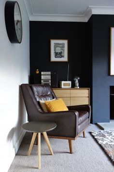 Karen's Scott retro armchair in Brown Leather and grey side table. | MADE.COM/Unboxed