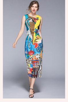 Print O-Neck Sleeveless Mid-Calf Straight Zippers Dress - Uniqistic.com