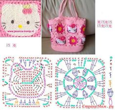 New crochet bag girl hello kitty ideas Crochet Mittens Free Pattern, Crochet Scarf Easy, Crochet Dolls Free Patterns, Diy Crochet And Knitting, Crochet Wool, Granny Square Crochet Pattern, Crochet Squares, Crochet Motif, Crochet Handbags