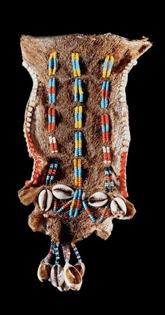 Africa | Cache sexe / apron of a girl from the Hamar people of southern Ethiopia | Animal hide, glass beads and shells | ca. 1960/70s