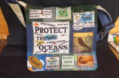 Protect Oceans bag-handmade from recycled materials. Skirt Pants, Oceans, Recycled Materials, Lunch Box, Tee Shirts, Skirts, Projects, Handmade, Bags