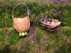 vertical walnut basket with gold handle and green flowered foot; purple glitter grapevine beaded basket. sold at my etsy store