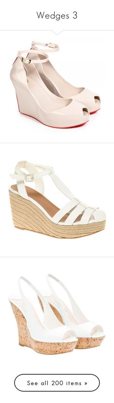 """""""Wedges 3"""" by scarlett-hero ❤ liked on Polyvore featuring shoes, wedges, wedge heel shoes, wedge sole shoes, beige shoes, beige wedge shoes, wedge shoes, sandals, heels and zapatos"""