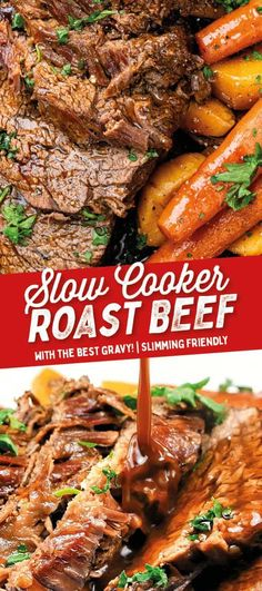 SLOW COOKER BEEF - This Slow Cooker Beef Roast recipe makes THE most delicious pot roast Suitable for Slimming World or Gluten free diets Supergolden Bakes Slow Roast Beef, Slow Cooked Beef, Roast Beef Recipes, Slow Cooking, Slow Cooker Roastbeef, Easy Pot Roast, Recipe For Pot Roast, Hamburger, Best Slow Cooker