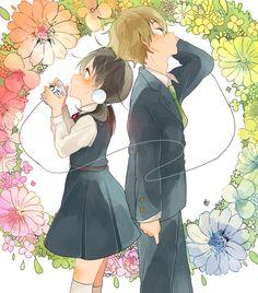 Tamako Market / Tamako Love Story | Kyoto Animation / Kitashirakawa Tamako and Ooji Mochizou / 「「あのね、」」/「しめのソラ」のイラスト [pixiv]