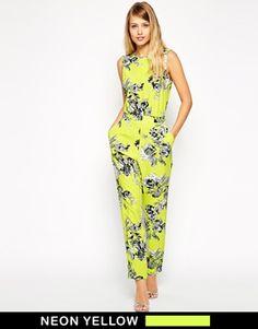 Image 1 ofASOS Neon Floral Jumpsuit