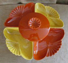 Vintage California Pottery Lazy Susan chip & dip Mid Century retro yellow orange