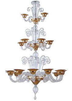 Three-tier Clear and Gold Murano Chandelier  with 21 Branches