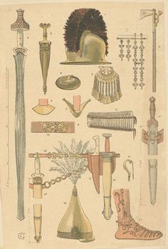 Illustrations created in 1910 portraying warriors based on archaeological finds from the Bronze Age. Celtic Sword, Celtic Warriors, Celtic Culture, Archaeological Finds, Mystery Of History, Iron Age, Picts, Historical Pictures, Ancient History