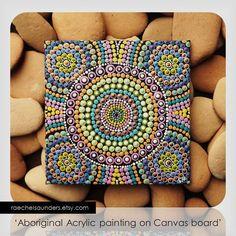 Aboriginal Dot Art Rainbow Painting Acrylic by RaechelSaunders, $20.00